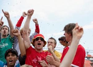 Fans in Stadium Celebrating